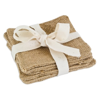 Burlap Natural Topstitched Coasters (Set of 6)