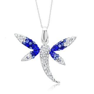 Platinum Plated Crystal Dragonfly Pendant Necklace