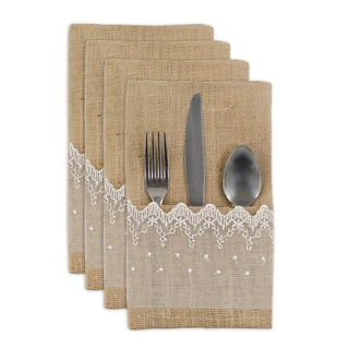 Burlap Natural with Lace Table Settings (Set of 4)