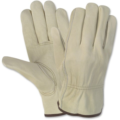 Economy Leather Driver Gloves, Medium, Beige, Pair