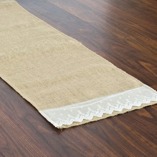 Burlap Natural Hemmed Runner with Lace Ends (1' x 6')