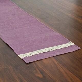 Burlap Lavender Hemmed Runner with Spider Lace Ends (1' x 6')
