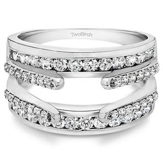 TwoBirch 10k White Gold 1/2ct TDW Diamond Cathedral and Traditional Wedding Ring Enhancer Set|https://ak1.ostkcdn.com/images/products/9976689/P17128706.jpg?impolicy=medium
