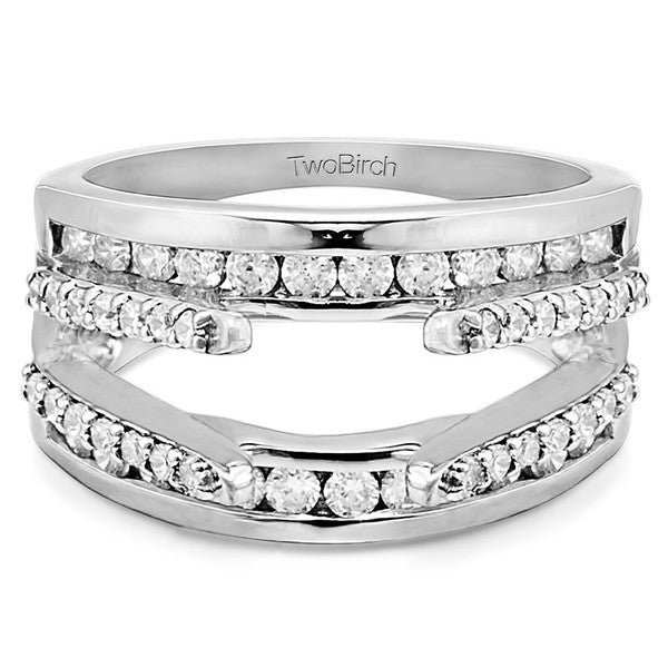 twobirch 10k white gold 12ct tdw diamond cathedral and traditional wedding ring enhancer set
