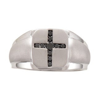 Unending Love Sterling Silver 1/4ct TDW Black Diamond Men's Cross Ring