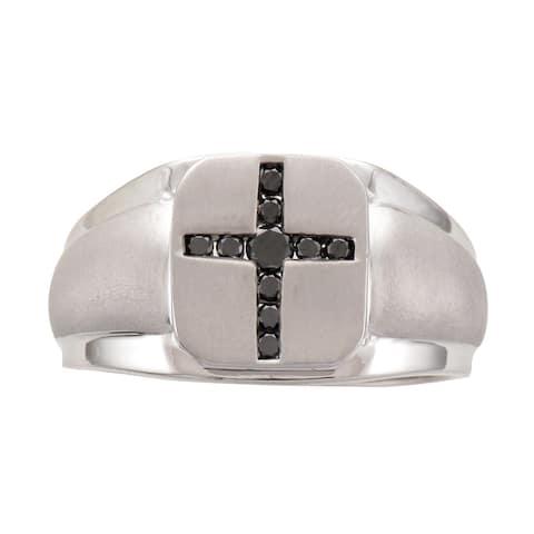 Unending Love Sterling Silver 1/4ct TDW Black Diamond Men's Cross Ring