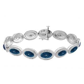 Divina Sterling Silver 1/5ct TDW Blue Diamond Fashion Bracelet