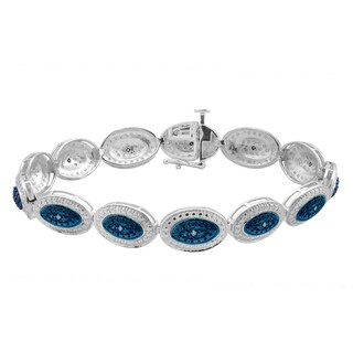 Divina Sterling Silver 1/5ct TDW Blue Diamond Fashion Bracelet