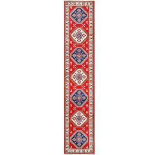 Herat Oriental Afghan Hand-knotted Tribal Kazak Red/ Ivory Wool Rug (2'8 x 13'8)