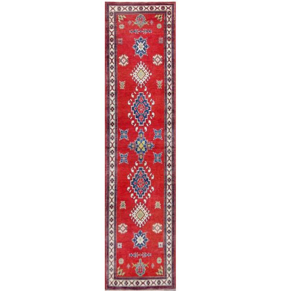 Handmade Herat Oriental Afghan Tribal Kazak Wool Runner - 2'7 x 10'8 (Afghanistan)