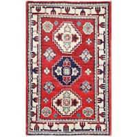 Herat Oriental Afghan Hand-knotted Tribal Kazak Wool Rug (1'11 x 3') - 1'11 x 3'