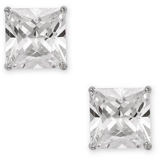 La Preciosa Sterling Silver Basket-set Square Stud Earrings