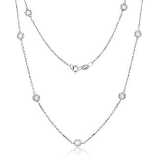 Link to La Preciosa Sterling Silver Bezel-set Cubic Zirconia Station Necklace Similar Items in Necklaces