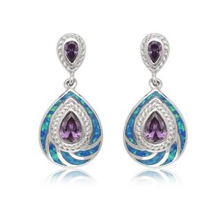 La Preciosa Sterling Silver Blue Opal/ Amethyst Cubic Zirconia Teardrop Earrings