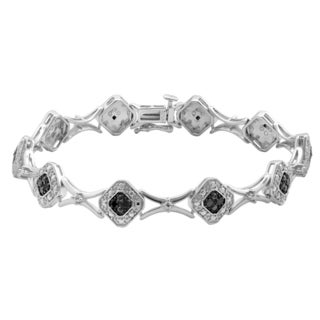 Divina Sterling Silver 1/4ct TDW Black Diamond Fashion Bracelet