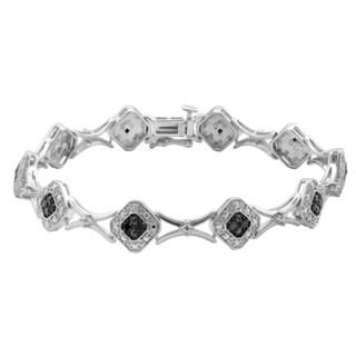 Divina Sterling Silver 1/4ct TDW Black Diamond Fashion Bracelet