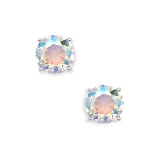 La Preciosa Sterling Silver Basket-set Aurora Borealis Circle Stud Earrings