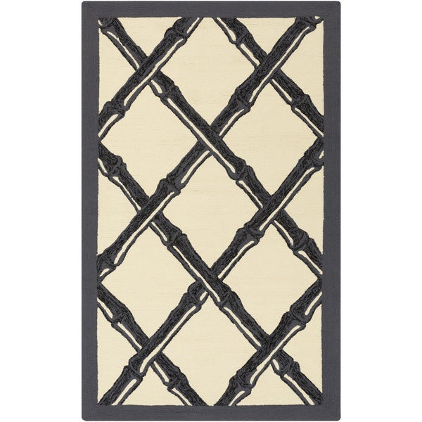 Hand-Hooked Pete Border Area Rug - 9' x 12'