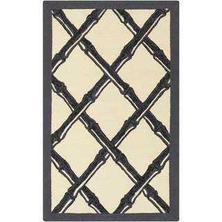 Hand-Hooked Pete Border Rug (9' x 12')
