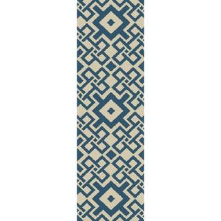 Hand-hooked Luke Geometric Polypropylene Rug (2'6 x 8')