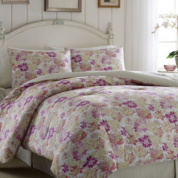 laura ashley secret garden 4 piece cotton comforter set free shipping today. Black Bedroom Furniture Sets. Home Design Ideas