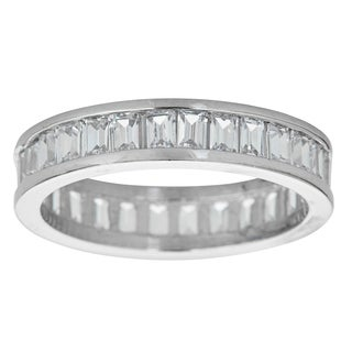 Decadence Sterling Silver Micropave Channelset Baguette Cubic Zirconia Eternity Ring