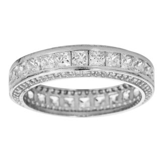 Decadence Sterling Silver Micropave Channel-set Princess Cubic Zirconia Eternity Ring