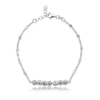 La Preciosa Sterling Silver Diamond-cut Bead Bar Bracelet