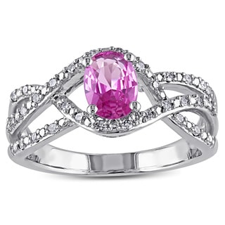 Miadora 10k White Gold 1/6ct TDW Diamond Pink Sapphire Interlaced Ring (G-H, I2-I3)