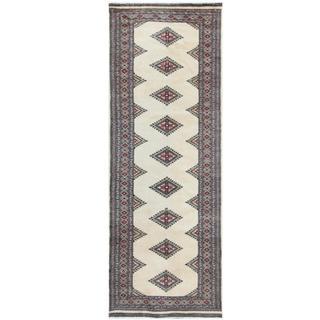 Herat Oriental Pakistani Hand-knotted Tribal Bokhara Beige/ Black Wool Rug (2'7 x 7'1)