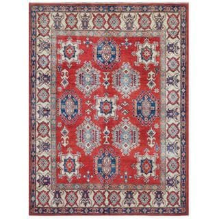 Herat Oriental Afghan Hand-knotted Tribal Kazak Red/ Ivory Wool Rug (5'7 x 7'5)