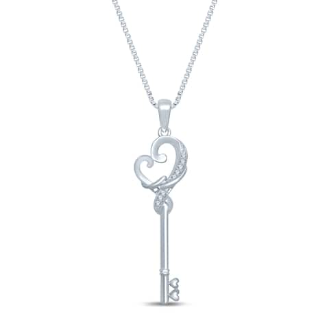 Unending Love Sterling Silver .05ct TDW Loving Arms Key Fashion Pendant Necklace