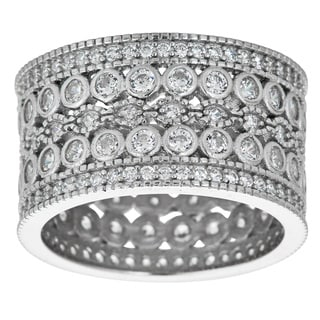 Decadence Sterling Silver Microapve Cubic Zirconia Eternity Ring