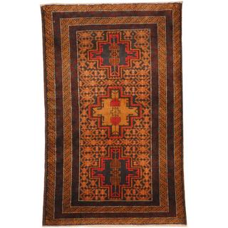 Herat Oriental Afghan Hand-knotted Tribal Balouchi Black/ Brown Wool Rug (4'1 x 2'6)