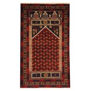 Herat Oriental Afghan Hand-knotted Tribal Balouchi Red/ Navy Wool Rug (3' x 5')