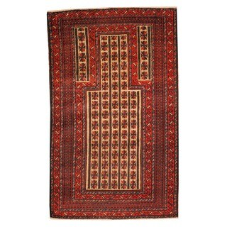 Herat Oriental Afghan Hand-knotted Tribal Balouchi Ivory/ Red Wool Rug (2'10 x 4'8)