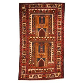 Herat Oriental Afghan Hand-knotted Tribal Balouchi Red/ Peach Wool Rug (2'10 x 4'6)