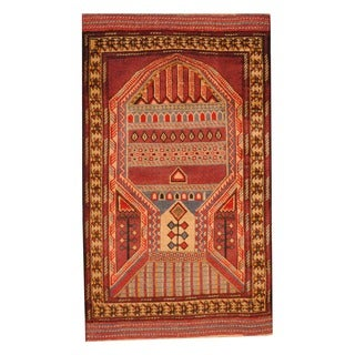 Herat Oriental Afghan Hand-knotted Tribal Balouchi Red/ Orange Wool Rug (2'8 x 4'7)
