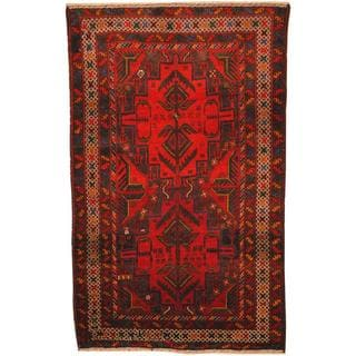 Herat Oriental Afghan Hand-knotted Tribal Balouchi Red/ Green Wool Rug (3' x 4'8)