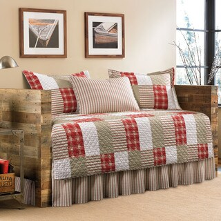 Eddie Bauer Camano Island Red/ Khaki Patchwork Plaid 5-Piece Quilted Daybed Cover Set