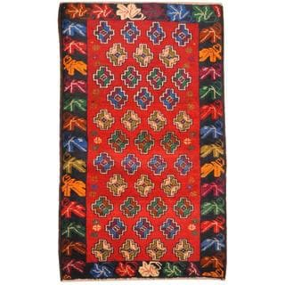 Herat Oriental Afghan Hand-knotted Tribal Balouchi Red/ Blue Wool Rug (2'7 x 4'3)