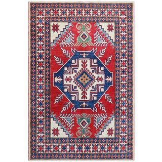 Herat Oriental Afghan Hand-knotted Tribal Kazak Red/ Ivory Wool Rug (4'2 x 6'3)