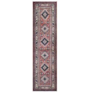 Herat Oriental Afghan Hand-knotted Tribal Kazak Rust/ Beige Wool Rug (2'7 x 9'6)