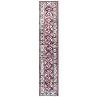 Herat Oriental Afghan Hand-knotted Tribal Kazak Red/ Ivory Wool Rug (2'7 x 13')
