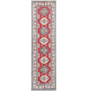 Herat Oriental Afghan Hand-knotted Tribal Kazak Red/ Ivory Wool Rug (2'9 x 10'5)