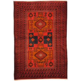 Herat Oriental Afghan Hand-knotted Tribal Balouchi Peach/ Pink Wool Rug (2'10 x 4'3)