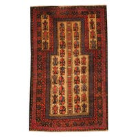 Herat Oriental Afghan Hand-knotted Tribal Balouchi Wool Rug - 2'9 x 4'6