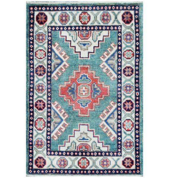 Shop Herat Oriental Afghan Hand-knotted Tribal Kazak Teal