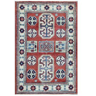 Herat Oriental Afghan Hand-knotted Tribal Kazak Wool Rug (2'1 x 3'2)