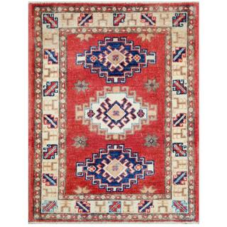 Herat Oriental Afghan Hand-knotted Tribal Kazak Red/ Ivory Wool Rug (2'1 x 2'8)